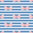 Tile vector pattern with pink bows on sailor blue background