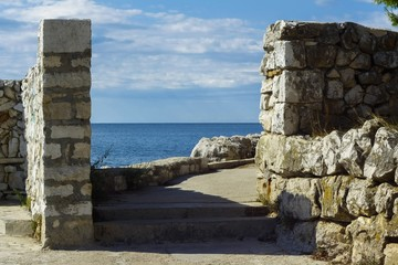Stone wall on the seaside
