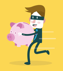 Businessman steal piggy bank. Risk of finance and business.