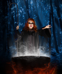 Witch with cauldron at night forest