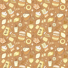 Tea and sweets seamless pattern in doodle style