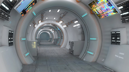 Futuristic background corridor for movie