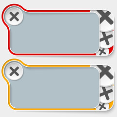 set of two abstract text boxes and multiplication symbol