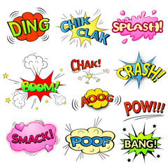 Comic bubbles vector isolated set