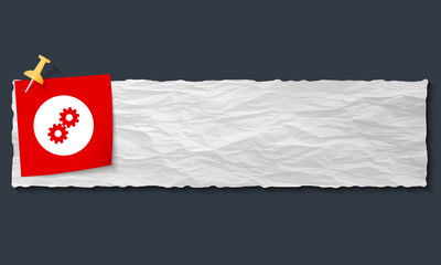 banner with crumpled paper and cogwheels