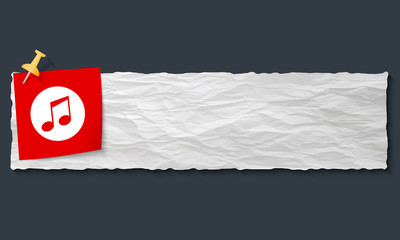 banner with crumpled paper and music symbol