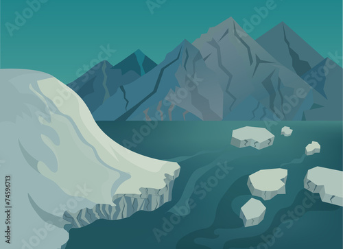 Landscape with snow-capped mountains, blue lake and ice floes - 74596713