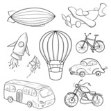 Sketches means of transport, vector illustration - 74596946
