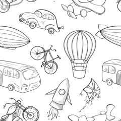 Sketches means of transport, boys vector seamless pattern