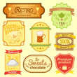 Retro vector labels on different themes set