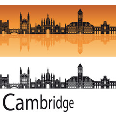 Cambridge skyline in orange background