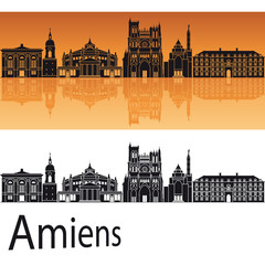 Amiens skyline in orange background