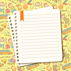 Vector background with children and torn sheet of notebook for