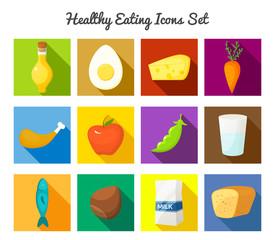 Healthy food vector icons set