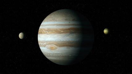 Jupiter and four biggest moons