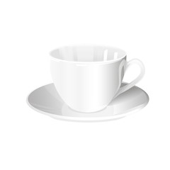 one isolated white cup and saucer on a white background