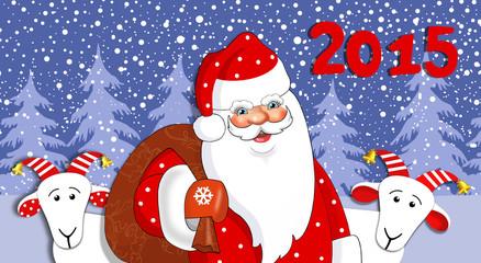 Дед Мороз с мешком подарков и козами. Векторная иллюстрация.
