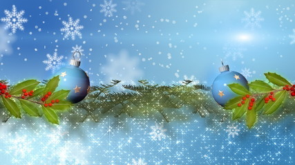 синие шары на ветках
