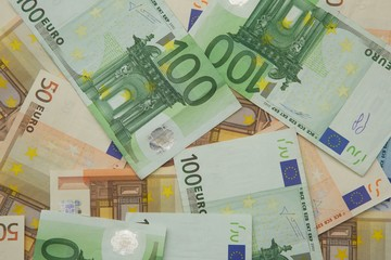 Currency of European Union. Background.Close up