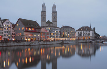Limmat River Embankment. Zurich, Switzerland