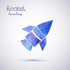 Vector watercolor rocket icon