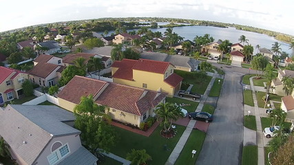Suburban street in Florida aerial view