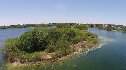 Suburban lake in Florida aerial view