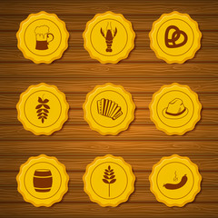 Vector icons of beer caps