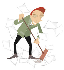 Businessman sweeps papers from the office