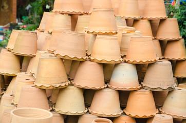 Clay flower pots at garden shop
