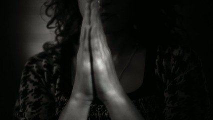 Hand gestures. Woman praying to god. Black and White