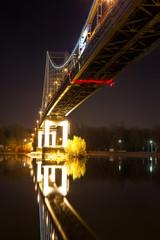 Footbridge in Kiev at night