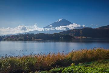View of Mount Fuji from lake Kawaguchiko
