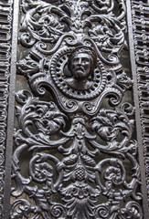 Paris, France. Fragment of a door of the typical ancient house