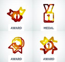 Colorful award business logo set
