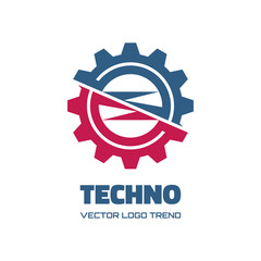 Techno - vector logo concept illustration. Gear logo.