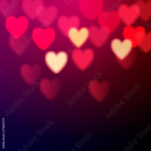 Shiny hearts bokeh