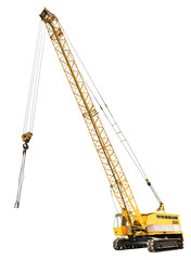 diesel electric yellow crawler crane isolated