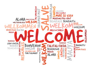 Word cloud of WELCOME in different languages, vector