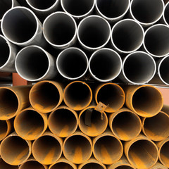 tops of construction pipes close up