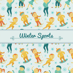 Winter Sports background with children, vector illustration
