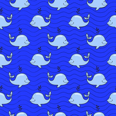 Seamless pattern with whale on blue ocean background in doodle