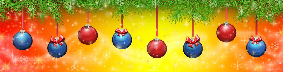 Баннер новогодний с шариками.Векторная иллюстрация.