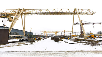 landscape with bridge cranes and metal products