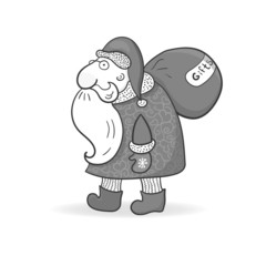 Santa Claus in doodle style, vector illustration on Christmas