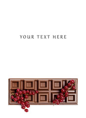 Chocolate bar with red currant blank space above