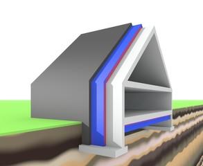 Doorsnede van woning - isoleren en besparen