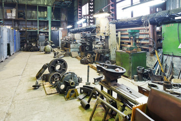 turnery mechanical workshop with lathes and parts