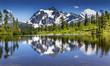 Picture Lake Evergreens Mount Shuksan Washington USA - 74604544