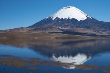 Reflection of Parinacota Volcano in Lake Chungara